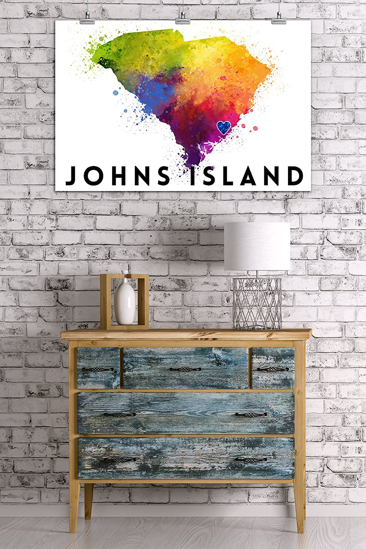 Johns Island South Carolina State Abstract Watercolor 84464 24x36 SIGNED Print Master Art Print - Wall Decor Poster