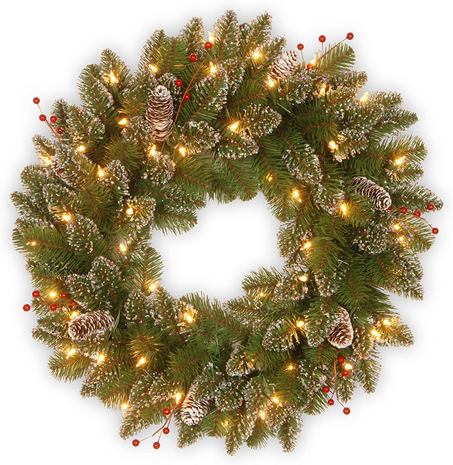 National Tree 24 Inch Glittery Mountain Spruce Wreath With White Tipped Cones Red Berries And 50 Battery Operated Warm White Led Lights With Timer Glm1 300 24w B1 Home Kitchen