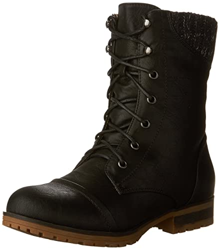d523520f737 Refresh Ladies Wynne-06 Sweater Cuff Lace Up Combat Boot