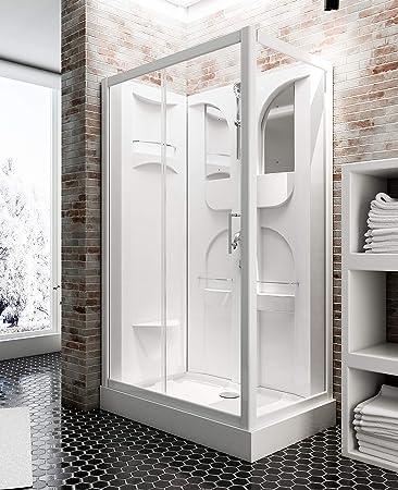 Schulte - Cabina de ducha completa Malta, cabina de ducha completa con puerta corredera, color blanco, 120 x 80 cm: Amazon.es: Bricolaje y herramientas