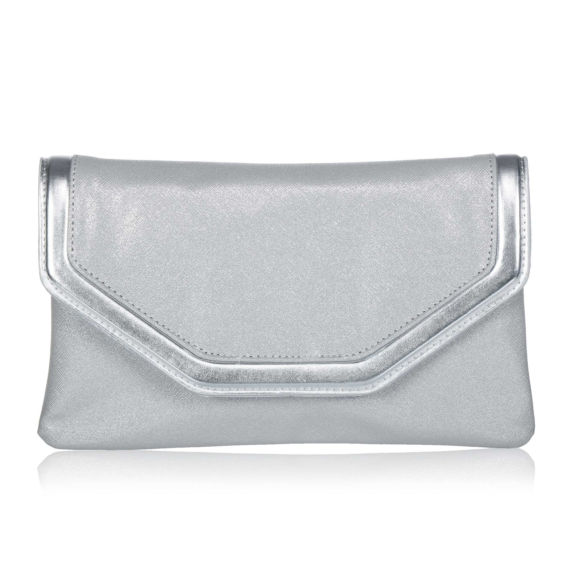 Classic PU Leather Evening Clutch,WALLYN'S Party Purse Evening Bag With Chain Strap(Silver)
