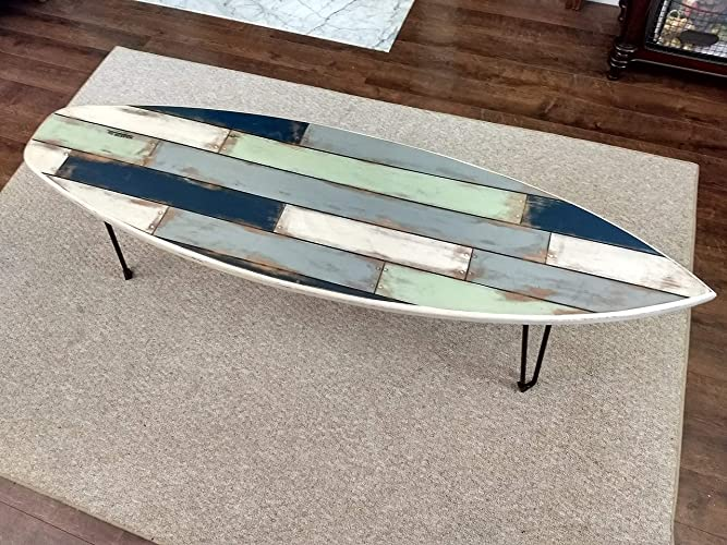 Attirant Faux Pallet Wood Surfboard Coffee Table