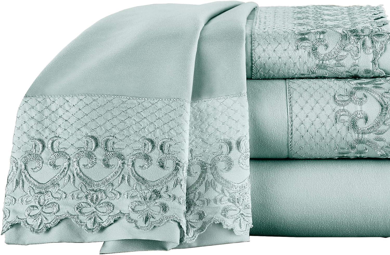 Elite Home Products Inc. Hotel Lace Microfiber Sheet Set, Spa Blue, King