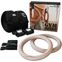 Olympic Gym Rings by BeMaxx Fitness + Door Anchor Attachment & Training Guide – Safety Straps + Length Markings | Premium Birch Wood | For Workout, Home Exercise, Body Building | Adults, children, man, woman