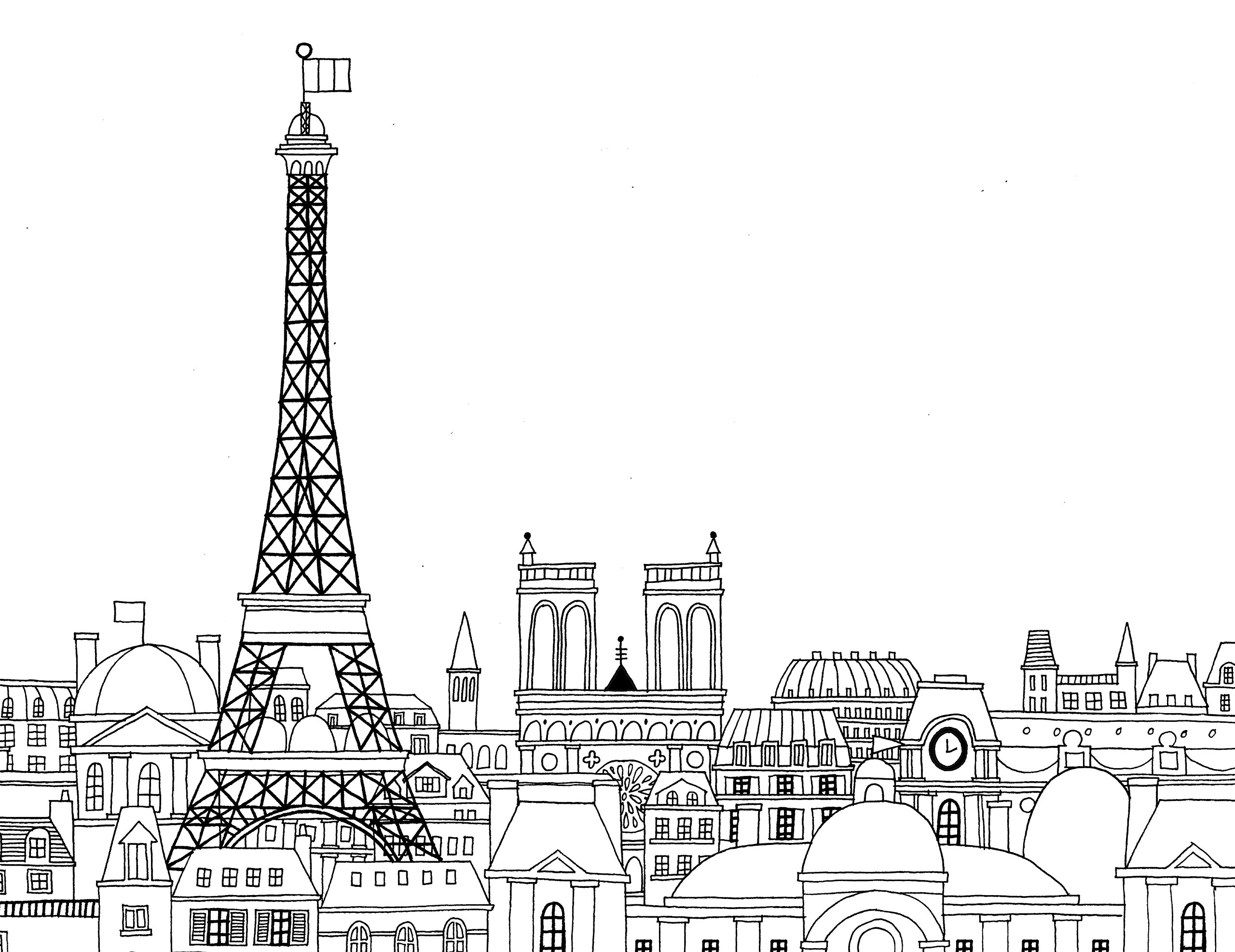 Awesome Paris Coloring Book Gallery