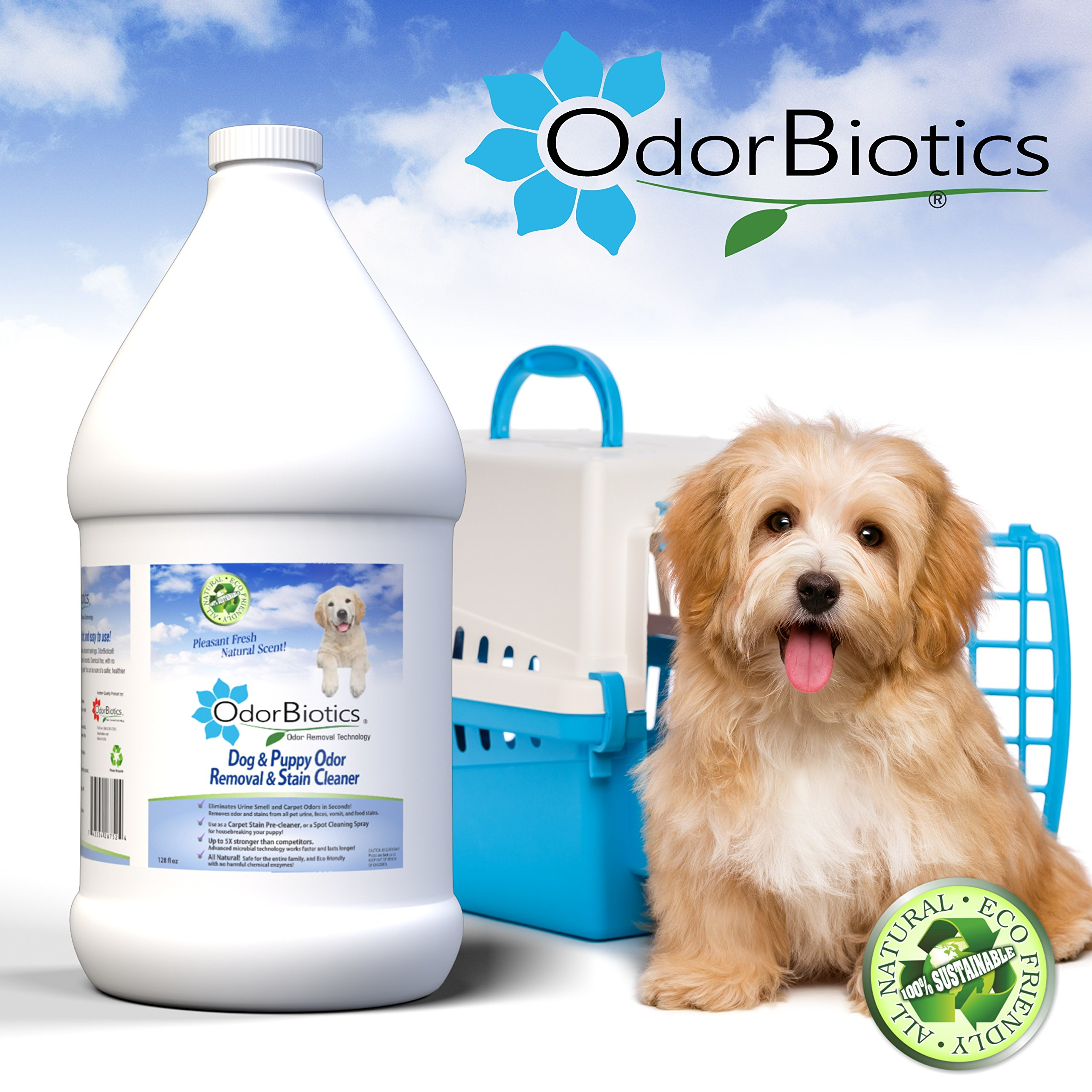 OdorBiotics Pet Stain & Odor Remover for Dog Beds, Playpens, Crates, Carriers, Kennels, Clothes, Puppy Toys, Eliminate Urine Smell on Carpet, Rugs, Hardwood Floors, Sofa Fabric, 128 oz Economy Size by OdorBiotics (Image #2)