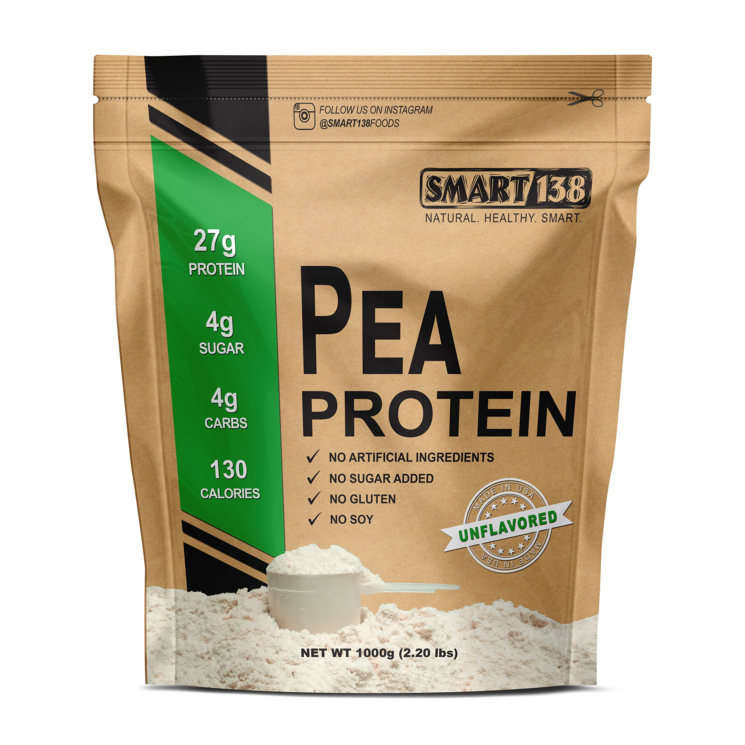 100% Pure Pea Protein, Ultra Smooth Powder, Vegan, Gluten-Free, Soy-Free, Dairy-Free, Non-GMO, USA/Canada, Keto (Low Carb), Natural BCAAs (1000g / 2.2lbs, Unflavored)