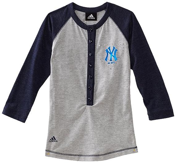 6c5f32482 Amazon.com : MLB Girls New York Yankees Classic Baseball Tee (Heather Grey,  Small) : Sports Fan T Shirts : Clothing