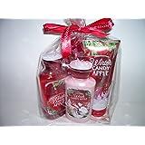 Bath and Body Works Holiday Tradition Winter Candy Apple 4 Piece Gift Set 10 Oz Shower Gel, 8 Oz Body Lotion, 8 Oz Fragrance Mist and 8 Oz Ultra Shea Body Cream