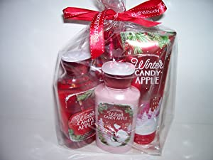Bath and Body Works Holiday Tradition Winter Candy Apple 4 Piece Gift Set 10 Oz Shower Gel, 8 Oz Body Lotion, 8 Oz Fragrance Mist and 8 Oz Ultra Shea Body Cream