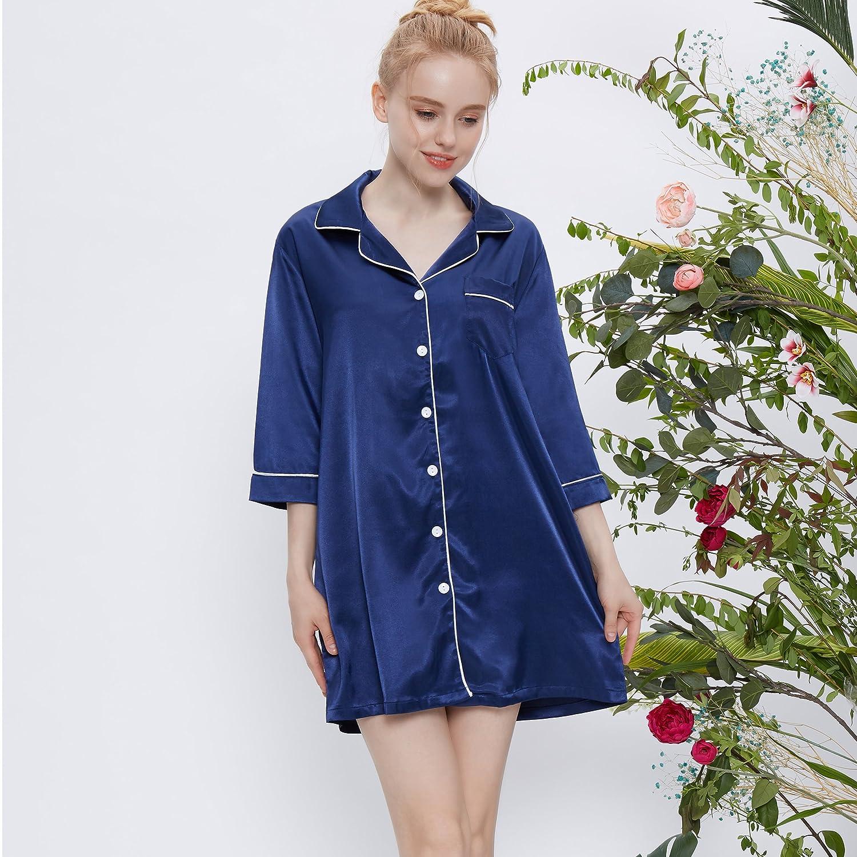 HeartFor Womens Sleepwear Medium Sleeves Nightshirt Satin Pajama Top Boyfriend Shirt Button-Front Nightie Sleepwear