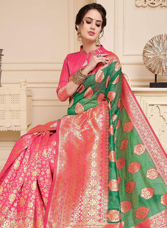 Peegli Saree Womens Wedding Linen Art Silk Saree Traditional Woven Green Sari