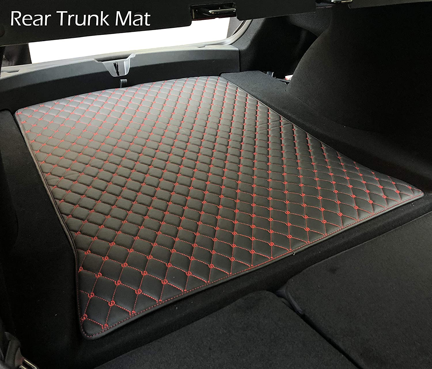 2 PCS BMZX Car Trunk Mats Front and Rear Trunk Set Heavy Duty All Weather for Tesla Model 3 Black Line Process