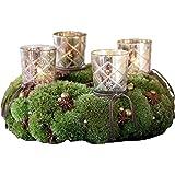 LOBERON Steck-Windlichter 4er-Set Clara mit Rautenschliff, geeignet für Teelichter, antiksilber
