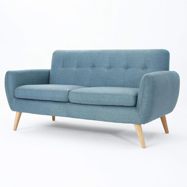 Christopher Knight Home Josephine Mid-Century Modern Petite Fabric Sofa, Blue / Natural Finish