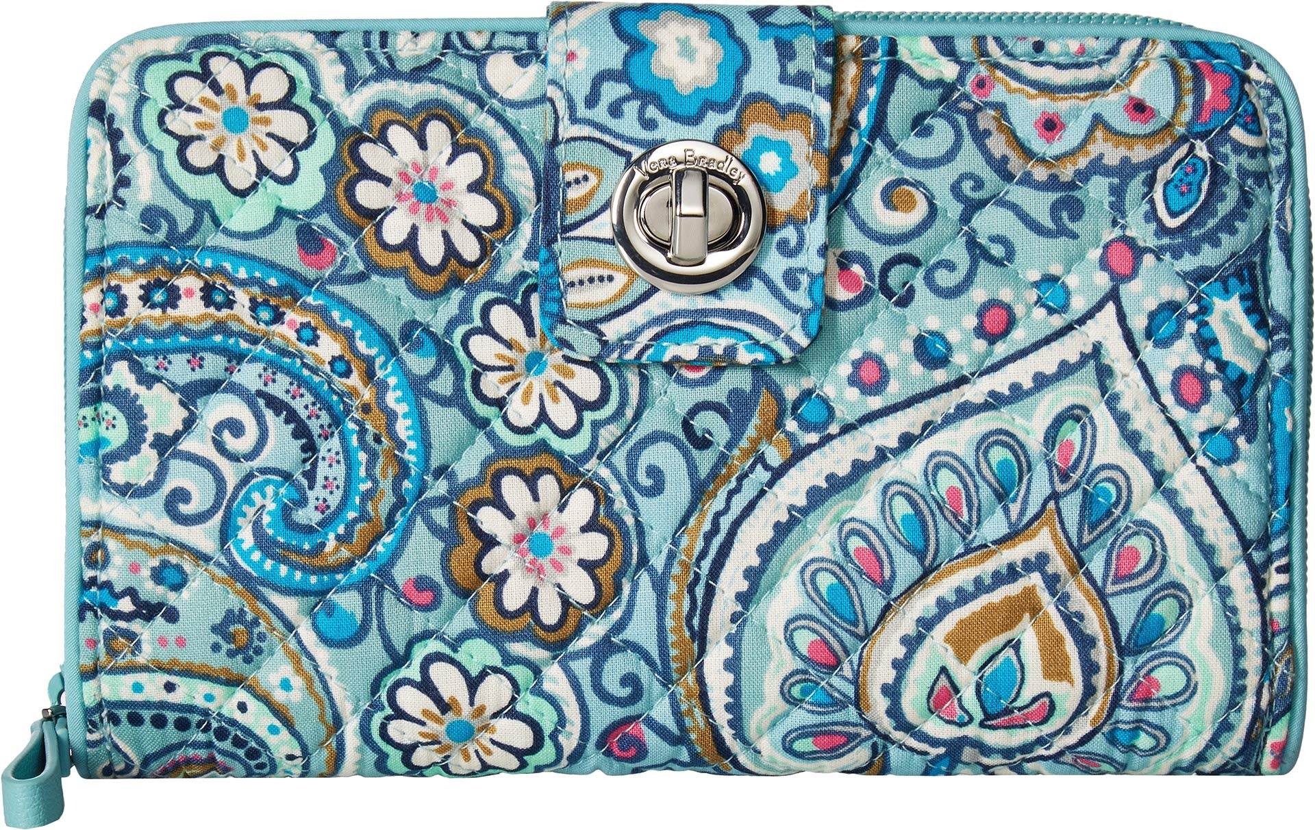 Vera Bradley Women's Iconic RFID Turnlock Wallet Daisy Dot Paisley One Size