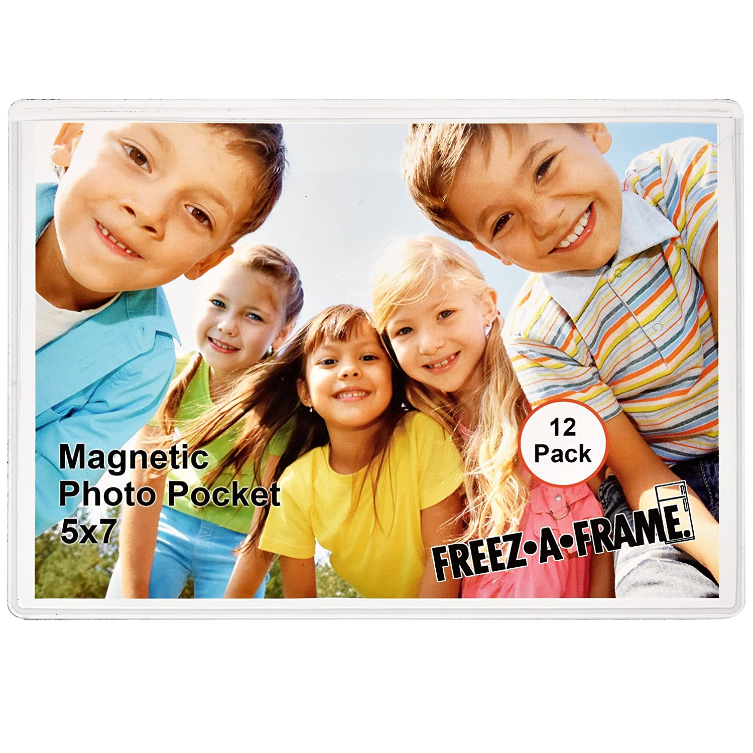 12 Pack 5 x 7 Magnetic Picture Frames Pockets Sleeves Holds 5 x 7 Inches Photo for Refrigerator by Freez-A-Frame Made in The USA Freeze A Frame