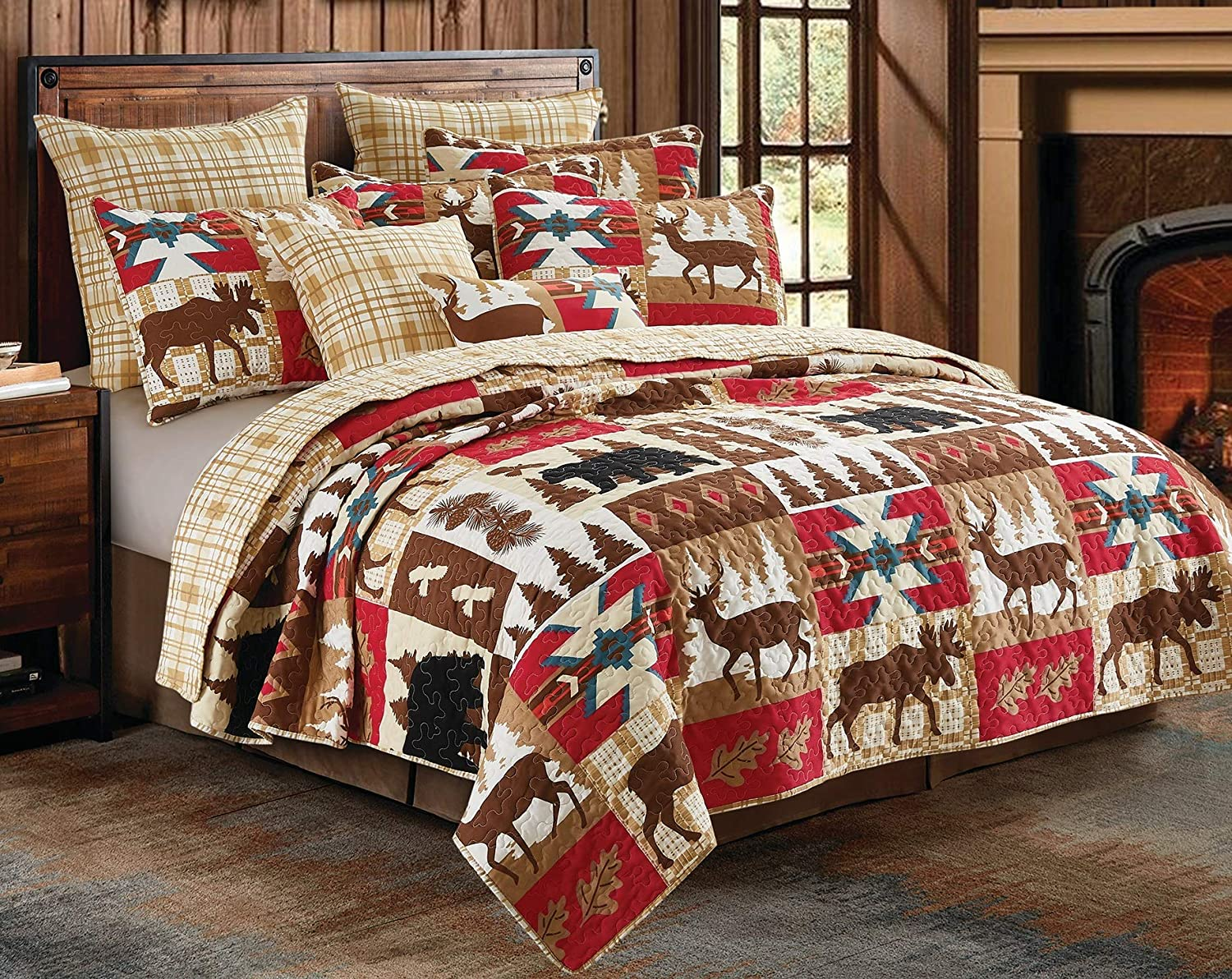 Virah Bella 3 Piece Wildlife Watch Full / Queen Quilt Set, Southwestern Bear Deer Moose