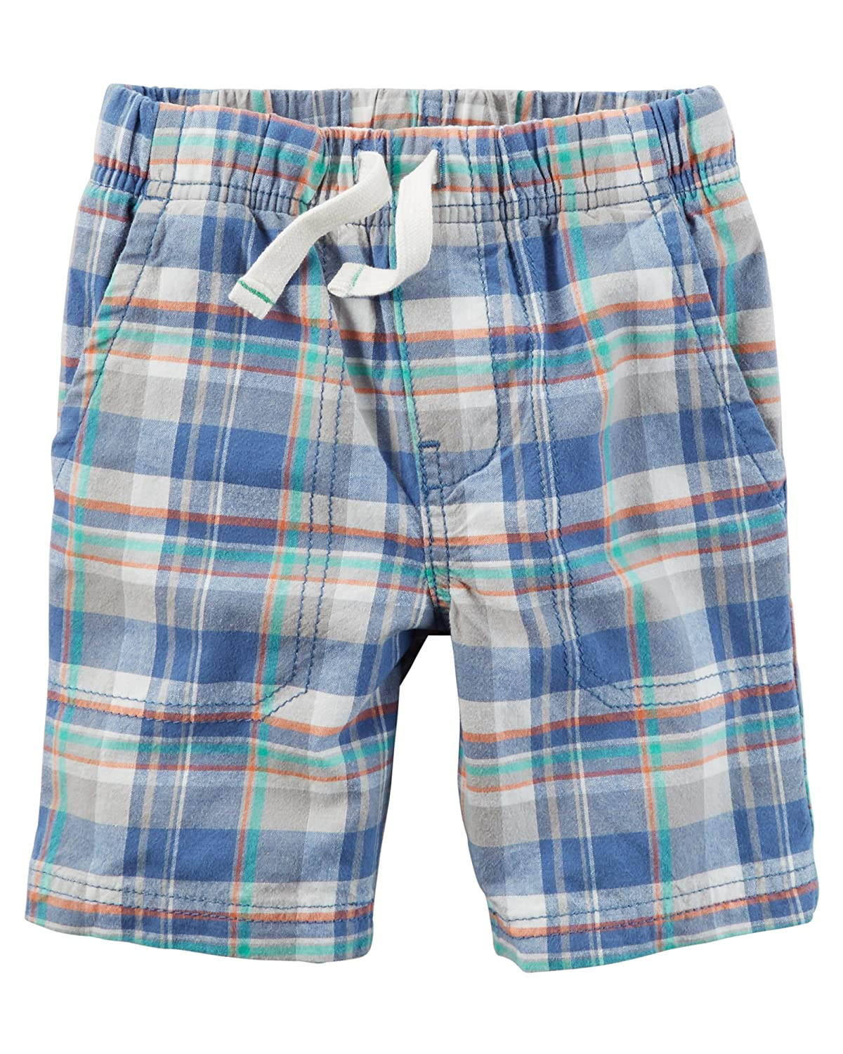 Carters Boys Blue Plaid Pull On Cotton Shorts 9 Months