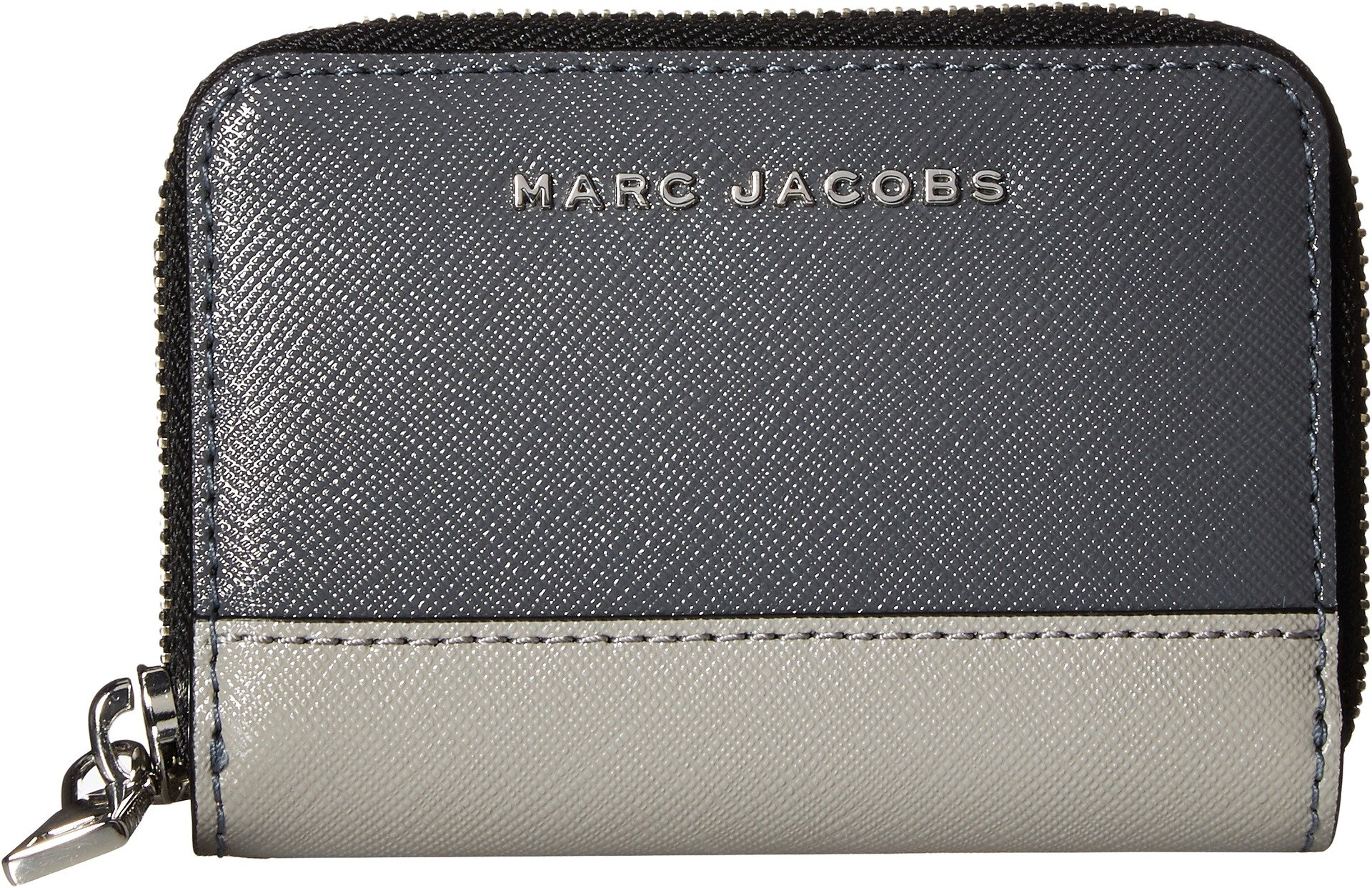 Marc Jacobs Women's Saffiano Metal Letters Mini Zip Card Case Moody Grey Multi One Size