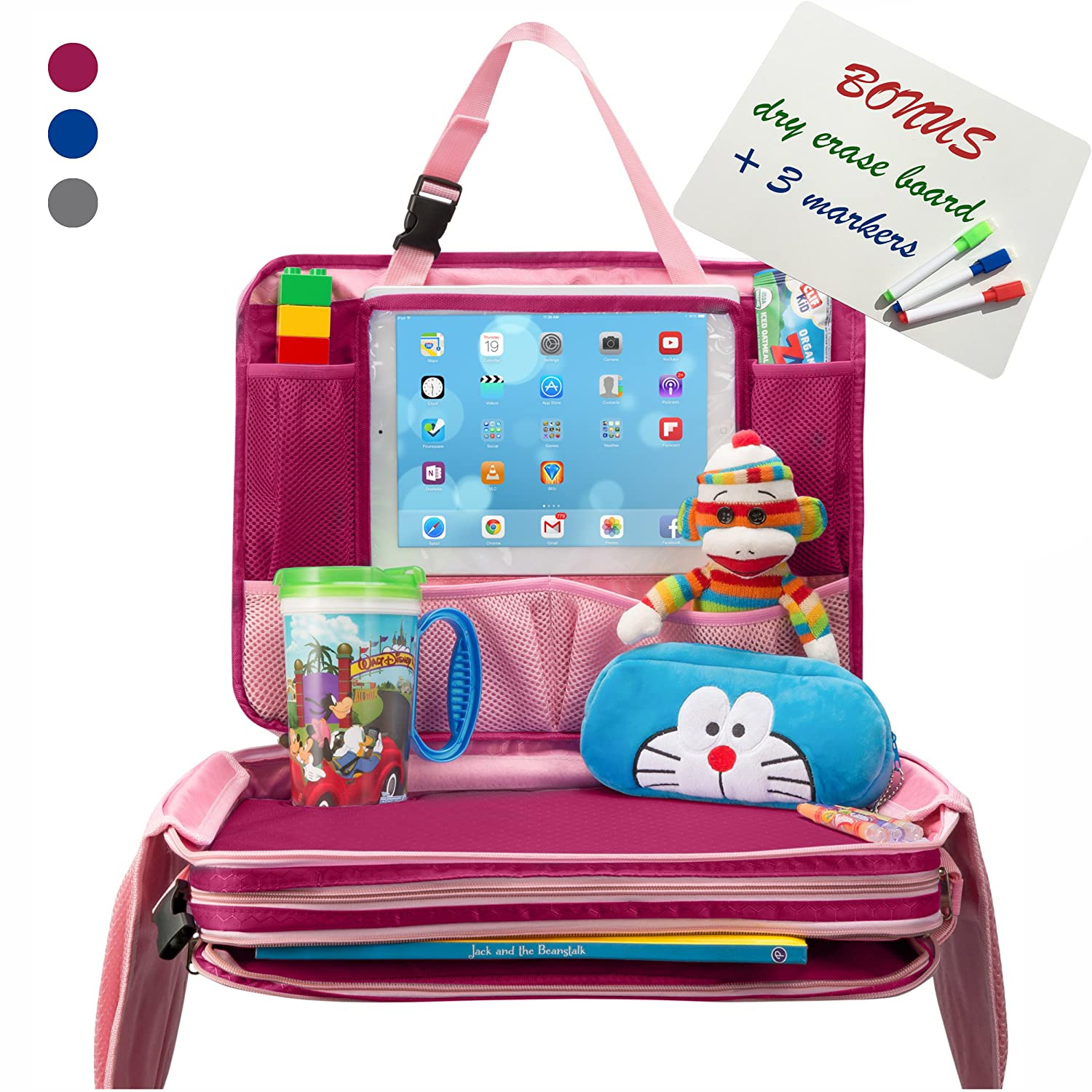 Kids Travel Tray - Detachable Top 4-in-1 Car Organizer w Tablet Holder - Play Snack Lap Table - On The Go Activity Desk for Children Toddlers - Backseat Storage - Stroller Accessories w Extra Bonus TravelMe