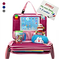 Kids Travel Tray - Detachable Top 4-in-1 Car Organizer w Tablet Holder - Play Snack Lap Table - On The Go Activity Desk for Children Toddlers - Backseat Storage - Stroller Accessories w Extra Bonus