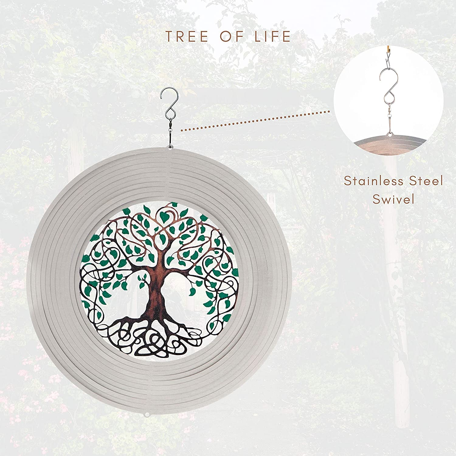 Spinart Tree of life Wind Spinner kinetic ornament decor for the outdoor garden and home decoration made from stainless steel and durable coated colour