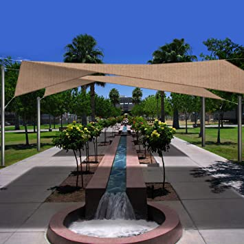 Phoenix 16.5u0027 Square Sun Shade Sail Home Kit Desert Sand Color, Includes  All Mounting