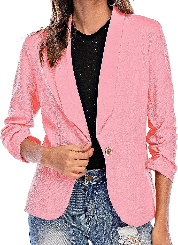 Aladuo Women Blazer Open Front 3/4 Sleeve Fall Outfits Jacket Work Office Blazer