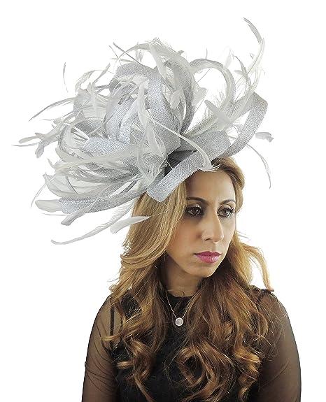 e5ffd81b1b5c1 Hats By Cressida Large Ladies Wedding Races Ascot Derby Fascinator Headband  Metallic Silver: Amazon.co.uk: Clothing