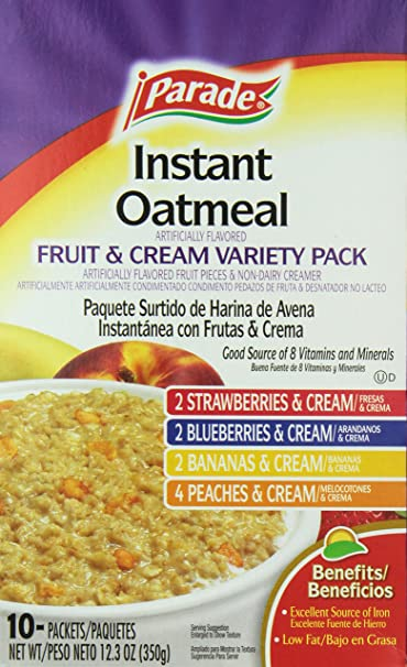 Parade Instant Oatmeal, Fruit and Cream Variety Pack, 12.5 Ounce: Amazon.com: Grocery & Gourmet Food