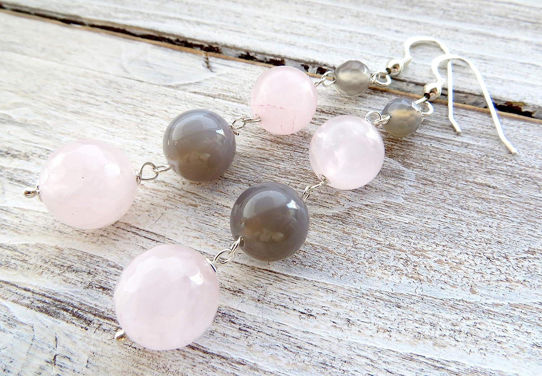 Pendientes de cuarzo rosa, agata gris y plata 925, pendientes largos colgantes, joyas de piedras naturales, joyas modernas, bisutería de mujer