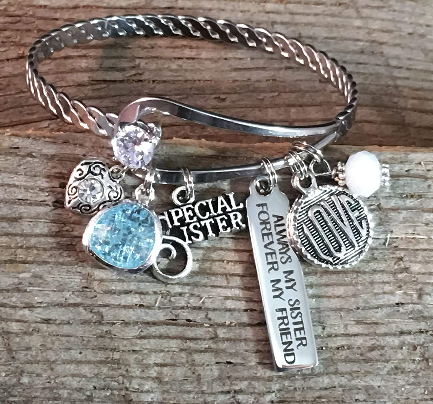 Bar Charm Bracelet BANGLE Sister Gift SISTER Jewelry Big Birthday Always My Forever Friend