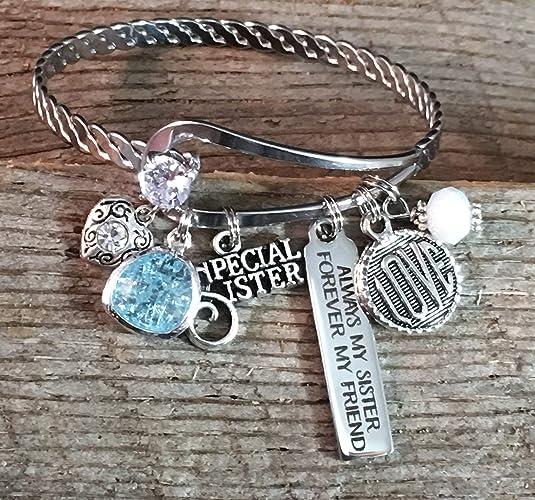 Bar Charm Bracelet BANGLE Sister Gift SISTER Jewelry Big Birthday Always My Forever Friend