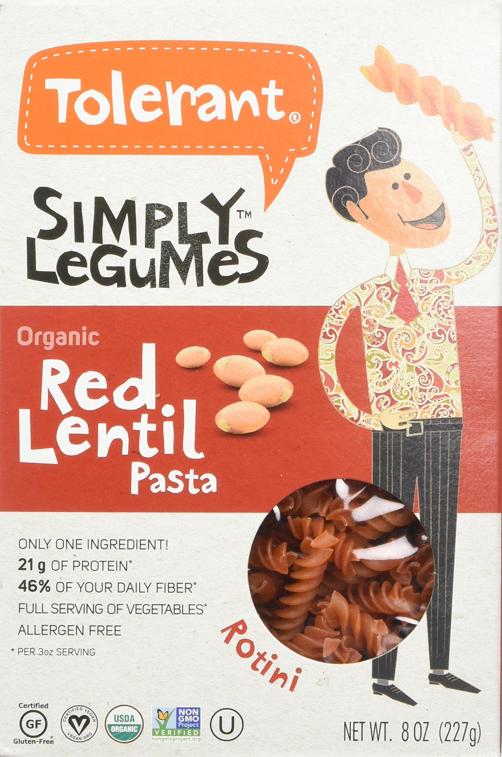 Amazoncom Tolerant Organic Red Lentil Pasta Simply Legumes