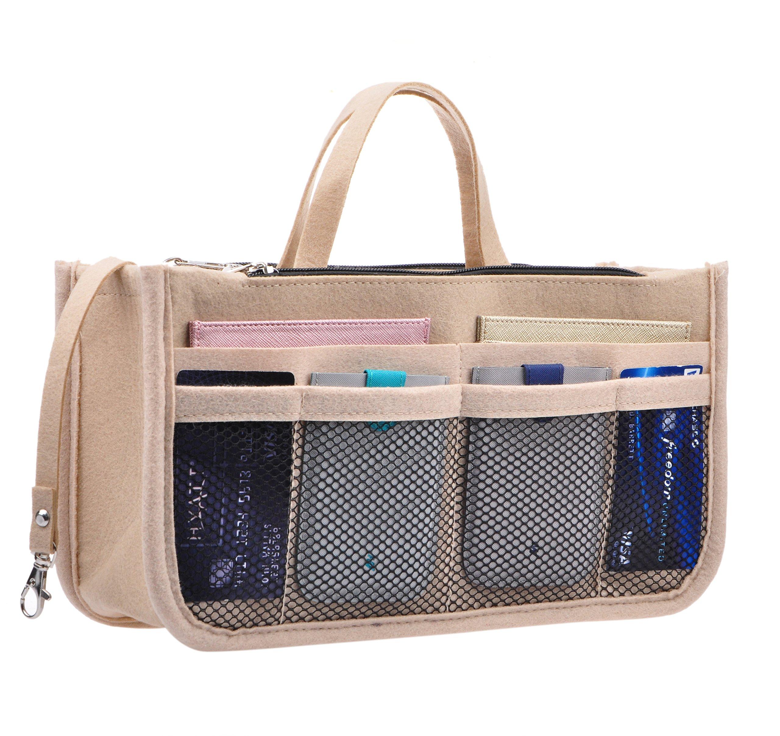 Vercord Sturdy Felt Handbag Purse Organizer Insert With Keychain 17 Compartments, Beige L