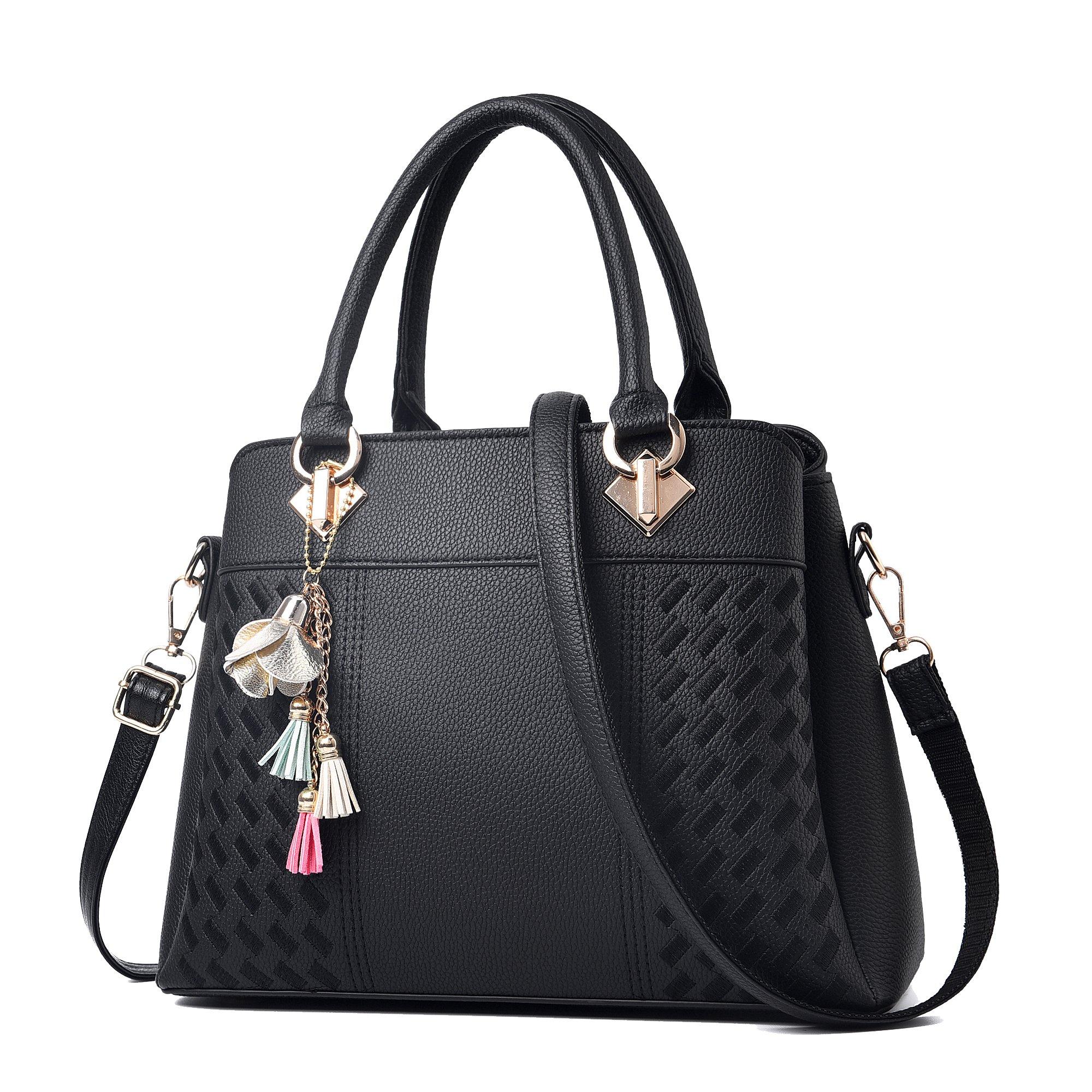 Womens Purses and Handbags Ladies Designer Satchel Tote Bag Shoulder Bags, Black