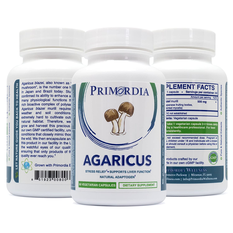 Primordia Agaricus blazei Capsules Natural Stress Relief, Helps Fights Inflammation, Provides Bone Liver Support Non-GMO, Allergen Free, Pure Agaricus blazei Murill The Brazil Mushroom 60ct.