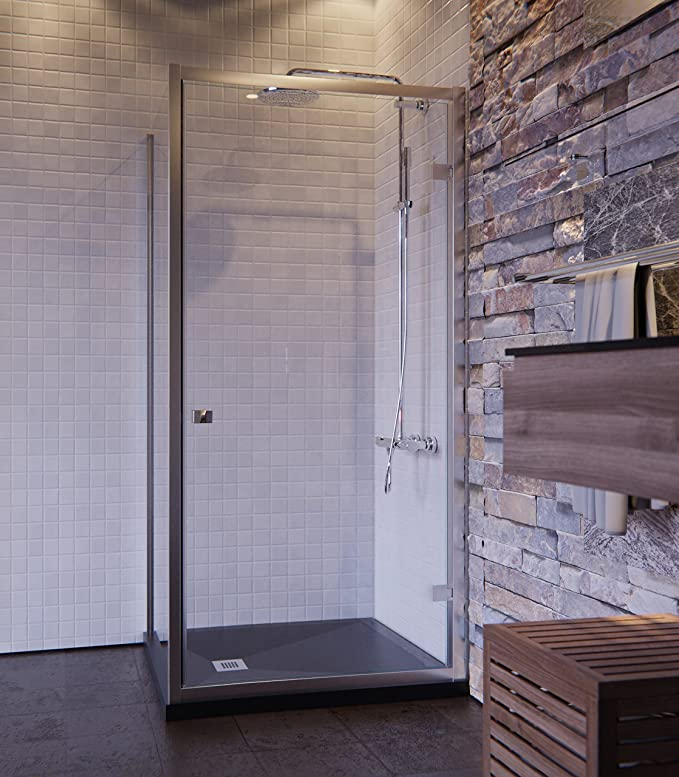 Olimpo duchas ga-70 X 100 ducha cabina 6 mm diseño puerta aldaba intera anti cal, transparente, juego de 2 piezas: Amazon.es: Bricolaje y herramientas
