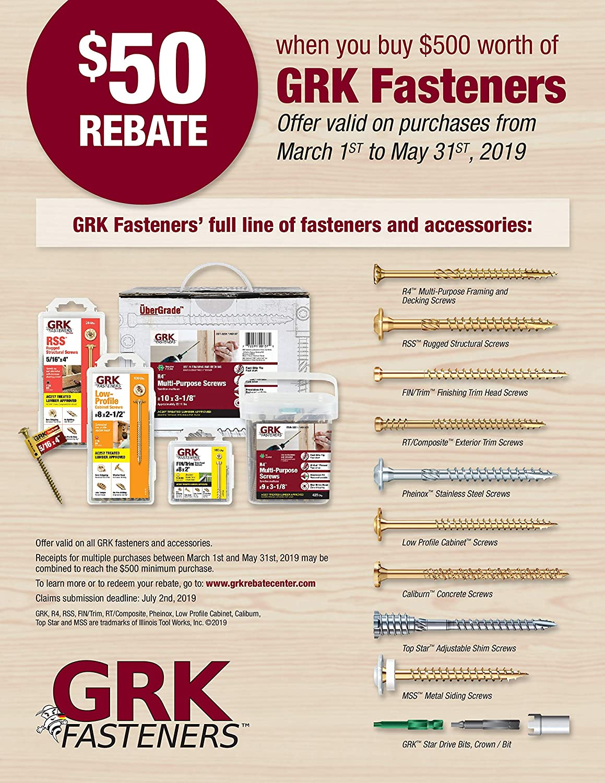 GRK 772691102218 RSS Bulk 5//16-Inch by 3-1//8-Inch Screw 500 per Box Anchor Fasteners