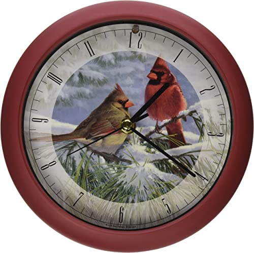 Mark Feldstein Associates Wild Wings Winter Light Marc Hanson Winter Clock, 8 , Red