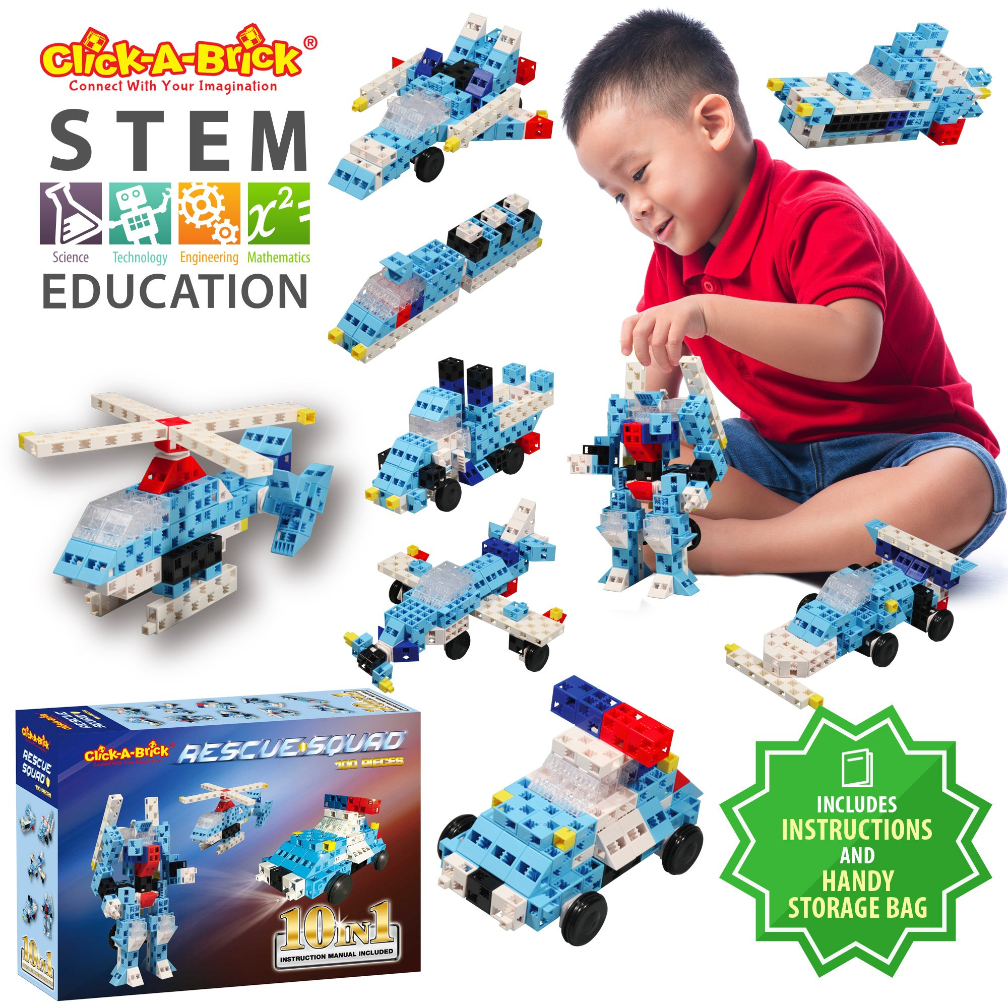 Click-A-Brick Rescue Squad 100pc Building Blocks Set | Best STEM Toys for Boys & Girls Age 5 6 7 Year Old | Fun Kids 3D Construction Puzzle | Top Educational Learning Gift For Children Ages 5-10