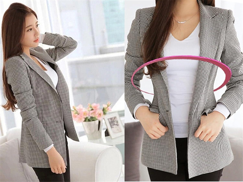 SHUIANGRAN Womens Plaid Office Work Blazers Long-Sleeved Jackets Slim Fit Outwear