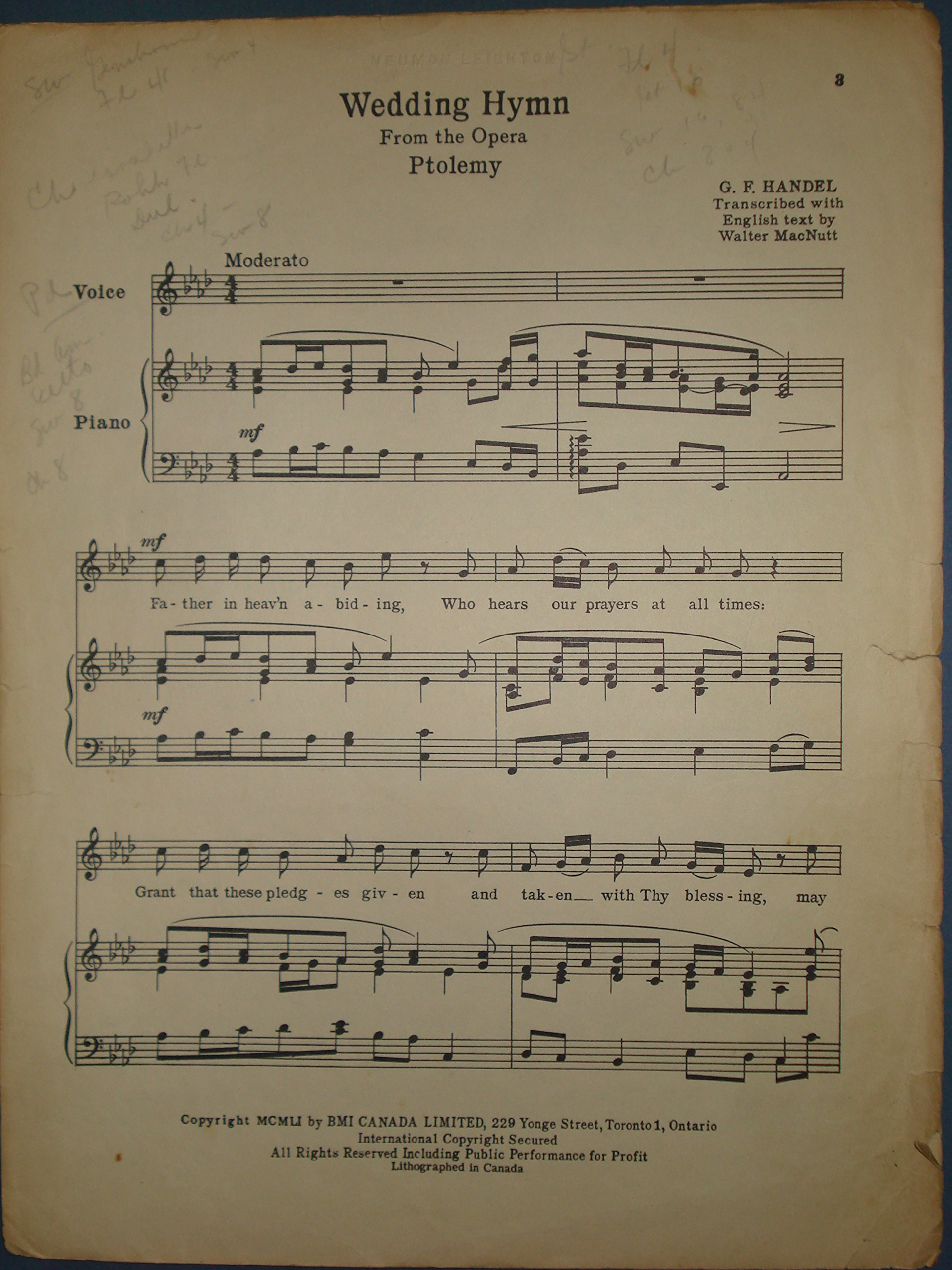Wedding Hymn From The Opera PTOLEMY Medium Voice By George Frederick Handel Walter MacNutt G F Amazon Books