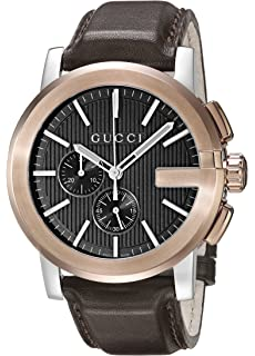 Gucci G - Chrono Collection Analog Display Swiss Quartz Brown Mens Watch(Model:YA101202
