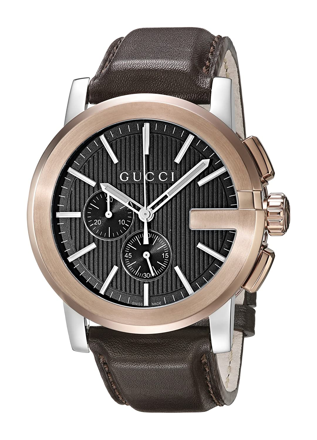 d49d5965b0f Amazon.com  Gucci G - Chrono Collection Analog Display Swiss Quartz Brown Men s  Watch(Model YA101202)  Watches