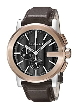 f11389ee1d0 Amazon.com  Gucci G - Chrono Collection Analog Display Swiss Quartz Brown  Men s Watch(Model YA101202)  Watches