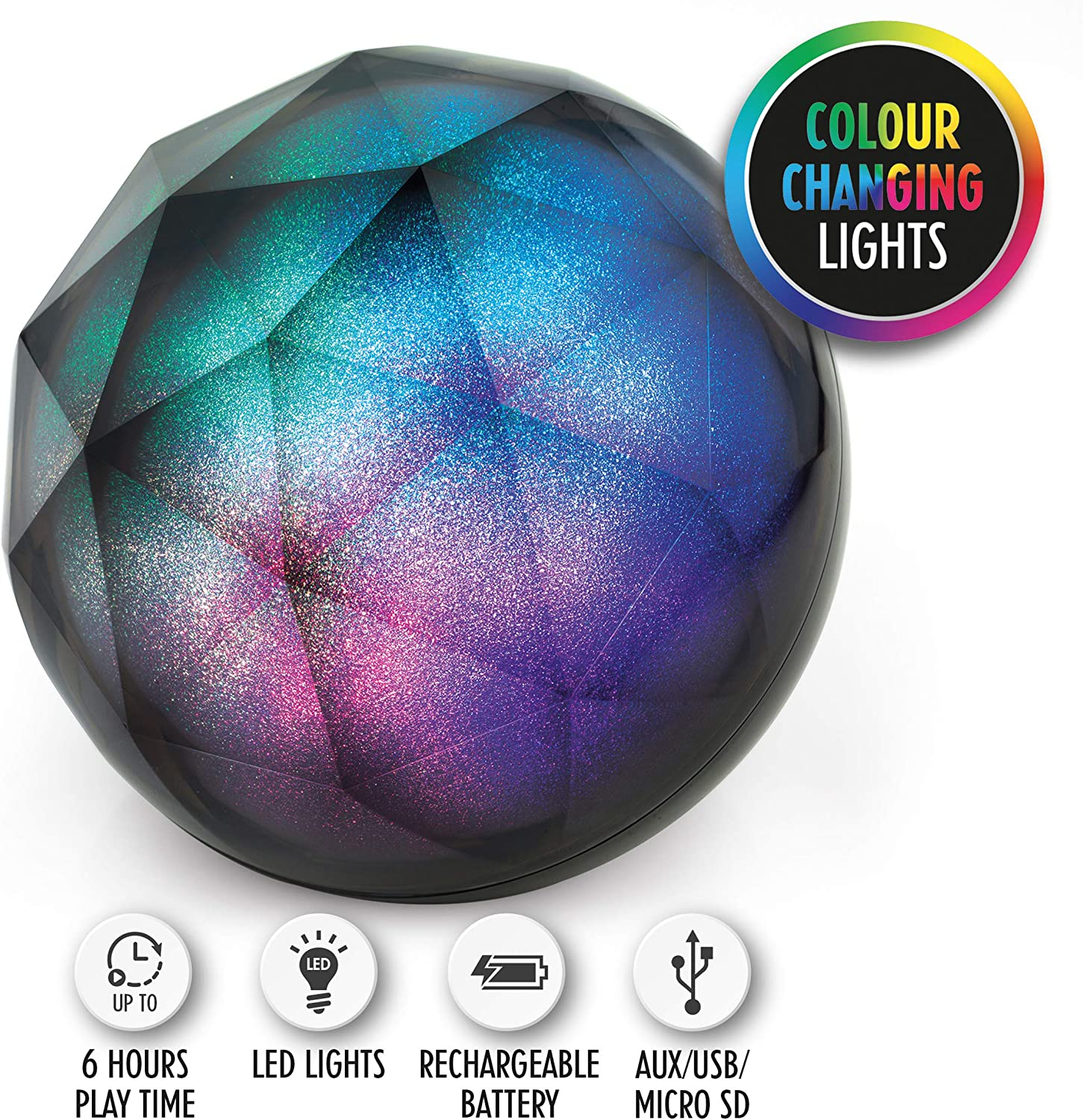 Intempo EE3434GSTKEU Geometric Glitter Ball Bluetooth Speaker with Colourful LED Lights for iPhones, Androids and Other Smart Devices, Superior Sound, 5 W Speaker Output, Black, Single