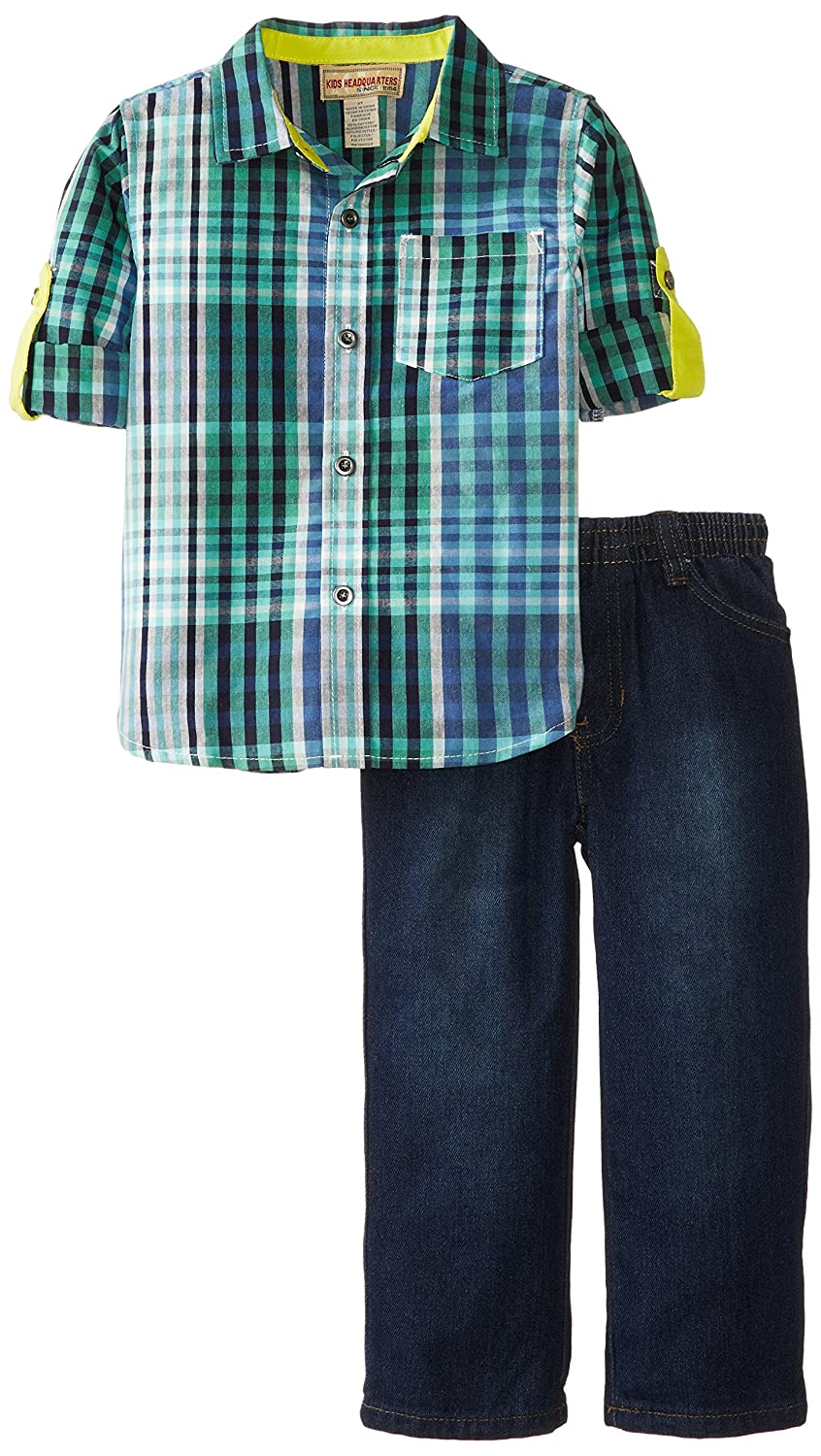 Kids Headquarters Little Boys Roll Up-Sleeve Shirt with Jean Two-Piece Set Kids Headquarters Boys 2-7 Sets 10452001-99