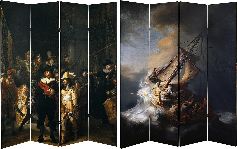ORIENTAL FURNITURE Tall Obras de Doble Cara de Rembrandt Lienzo Separador de Habitaciones, 6: Amazon.es: Hogar